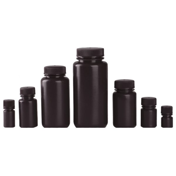 Various sizes of brown wide mouth reagent bottles