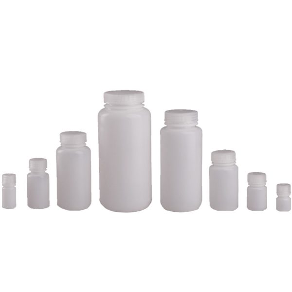 Various sizes of clear wide mouth reagent bottles